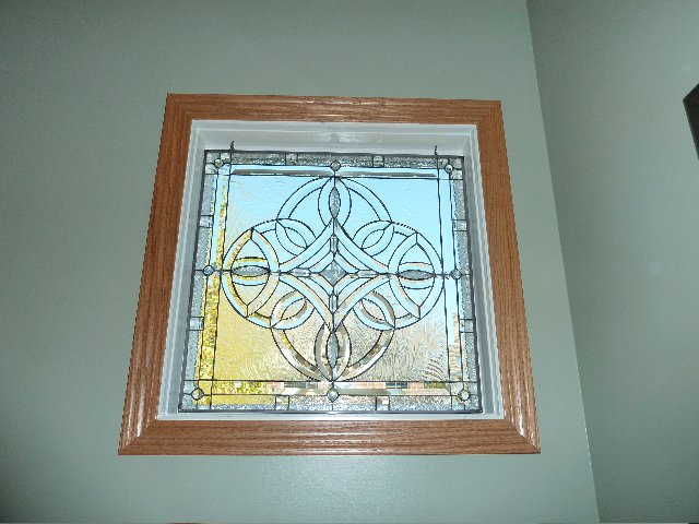 A Clear Beveled Celtic Knot Window Insert Put Right Over The Original Mullions And It Still Looks great!