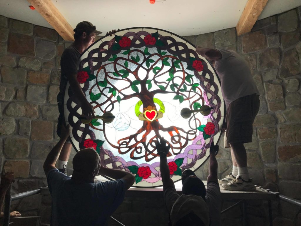"""Massive 66"""" Round (Triple Pane) Celtic Stained Glass Window"""