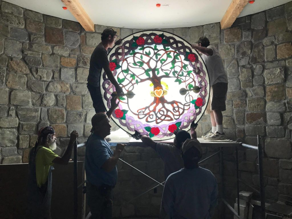 """Wow!!! Massive 66"""" Round (Triple Pane) Celtic Stained Glass Window"""