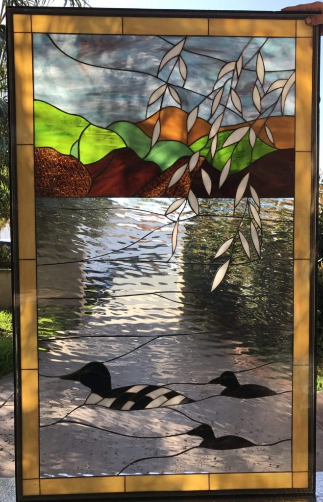 """Nice! """"Loons On the Paddle"""" Stained Glass Window Panel Or Cabinet Insert"""