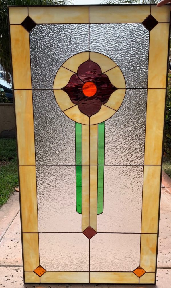 """Simple and Classic!! The """"Shelton"""" Stained Glass Window Panel Or Cabinet Insert"""