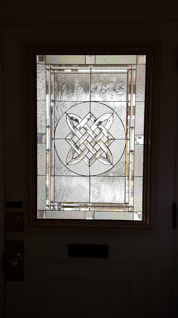 Beveled Glass Impact Resistant Tempered Glass Celtic Knot Insert Installed Into Door