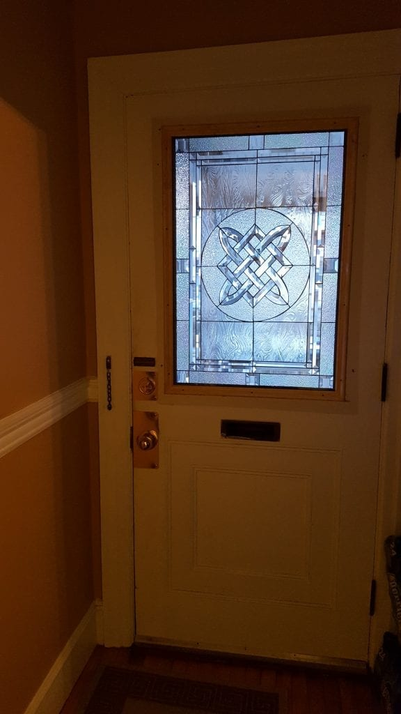 Beveled Glass Celtic Knot Insert Installed Into Door