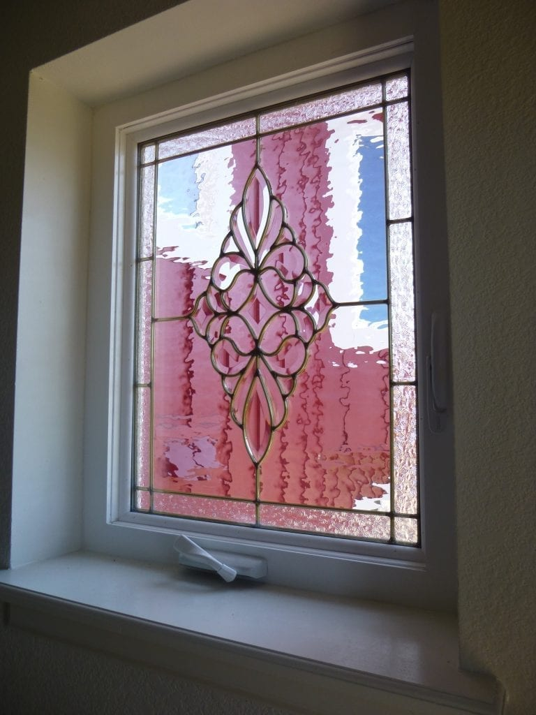 Stained & Beveled Glass Crank Out Casement Window
