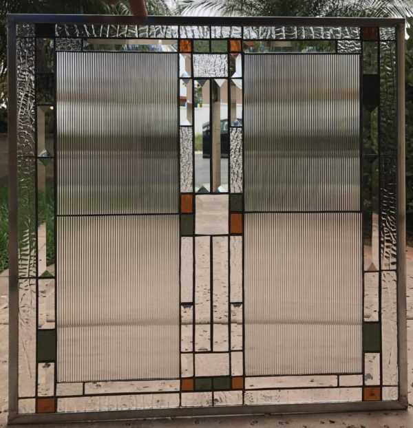 """The """"Bishop"""" Mission/Craftsman Style Stained Glass Window Panel or Cabinet Insert"""