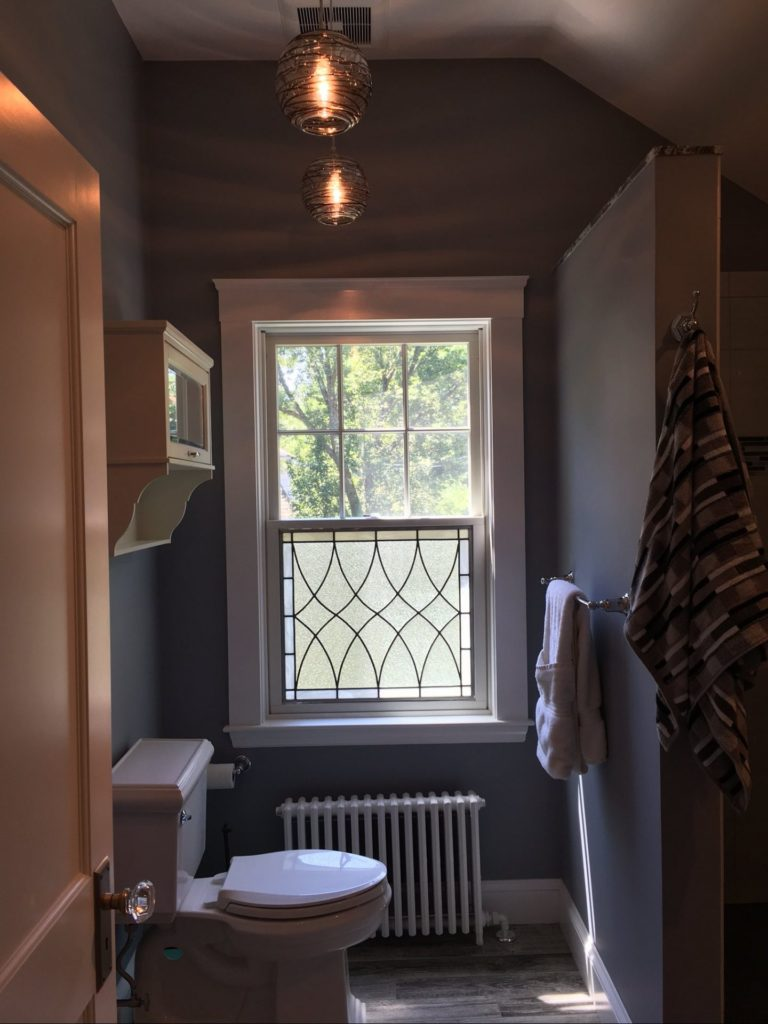 Classic Clear Textured Leaded Glass Window Insert Attached To Lower Window