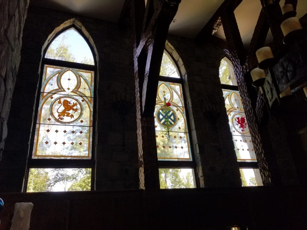 Medieval Stained Glass Windows Installed into A Castle