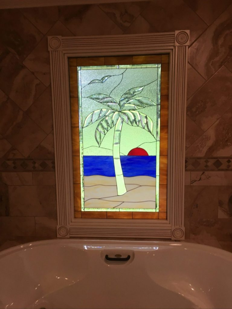Exquisite Palm Tree Stained Glass Window Installed Over Bathtub
