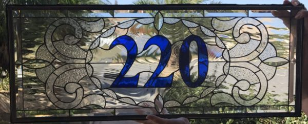 Stunning! Victorian Transom With Your address Numbers Stained Glass Window Panel