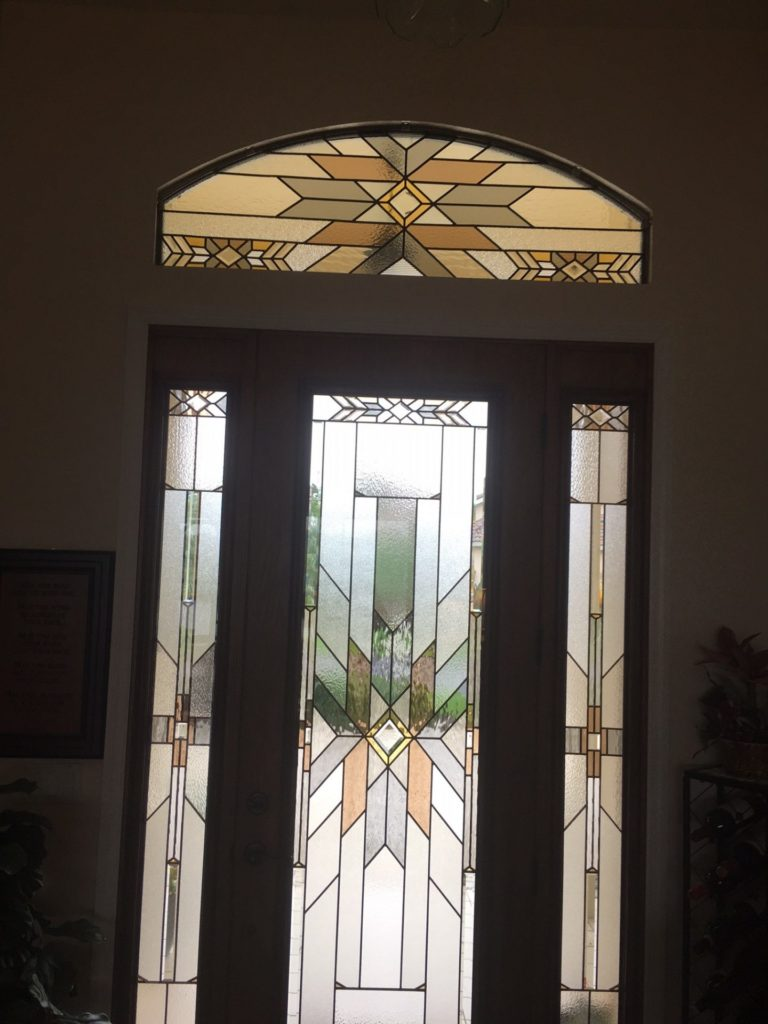 Stained glass Arched Transom And Matching Sidelite Windows