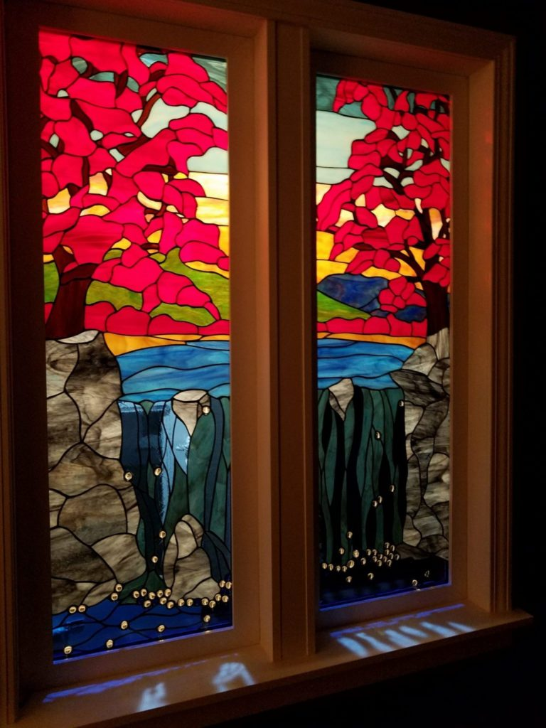 So Beautiful! Maple Tree & Waterfall Stained Glass Window Install In Entryway