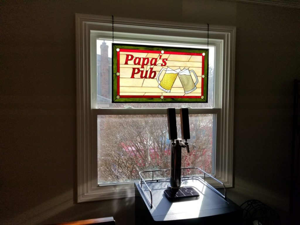 Personalized stained glass hanging panel for a home brewery