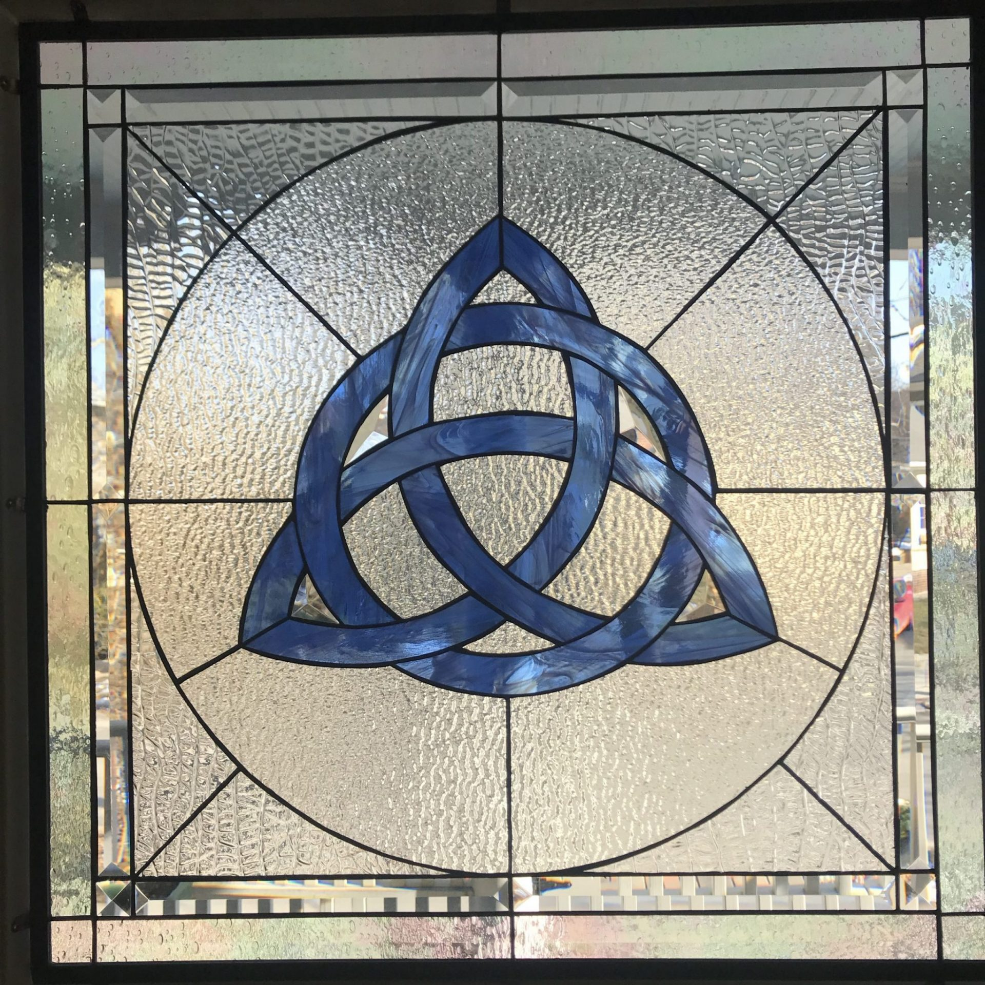 Celtic Knot stained glass inserted