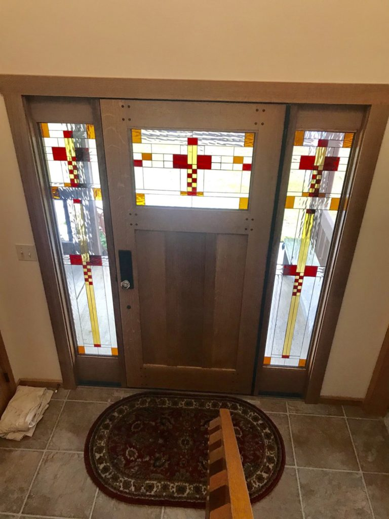 Classic Craftsman/ Mission Stained Glass Door And Sidelites