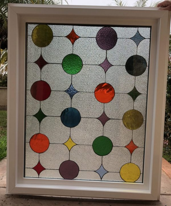 "The "" Classic Parlor "" Leaded Stained Glass Window (Insulated In Tempered Glass & Vinyl Framed)"