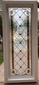 "The ""Amber Diamond & Jewels "" Mission Beveled Leaded Stained Glass Window (Insulated In Tempered Glass & Vinyl Framed)"