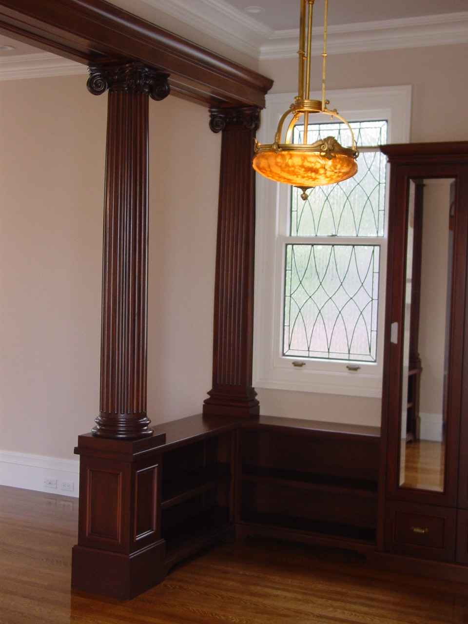 Matching Door, Transom, And Living Room Classic Leaded Glass