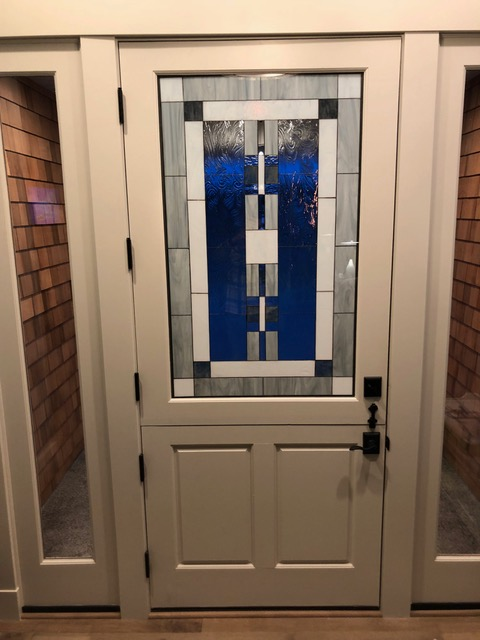 Beautiful & Elegant Mission/Prairie Triple Pane Stained Glass Door Insert