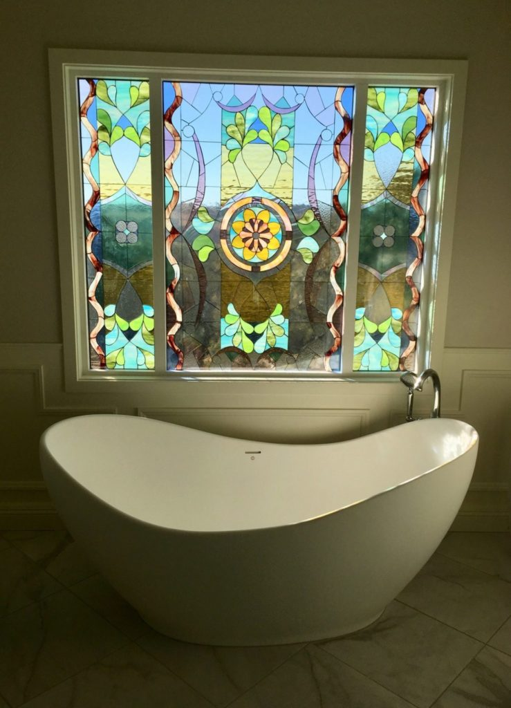 Amazing! Large Segmented Floral Stained Glass Bathtub Window