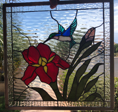 Gorgeous!  Iris & Hummingbird  Leaded Stained Glass Window Panel