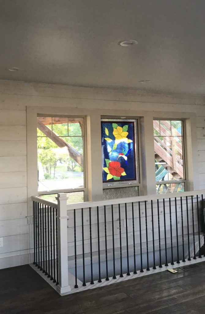 Beautiful Hummingbird & Flower Window Installed Above Stairway