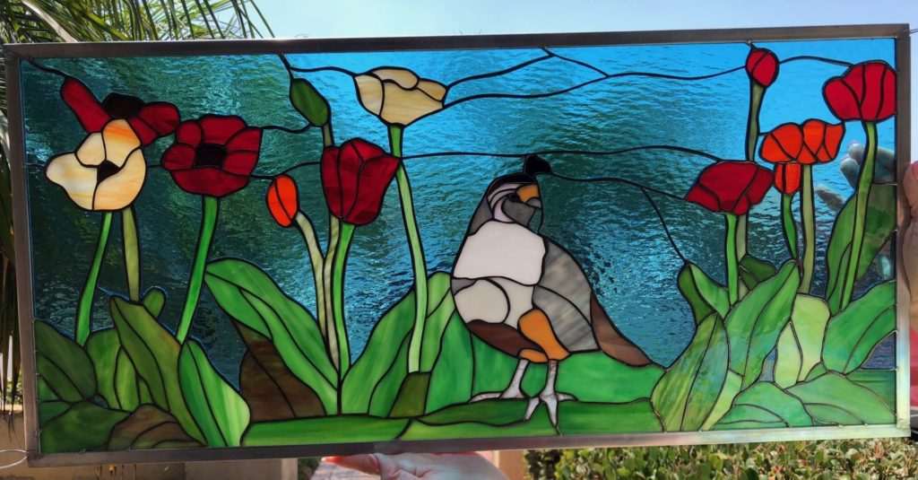 Lovely Quail & Poppies Leaded Stained Glass Window Panel