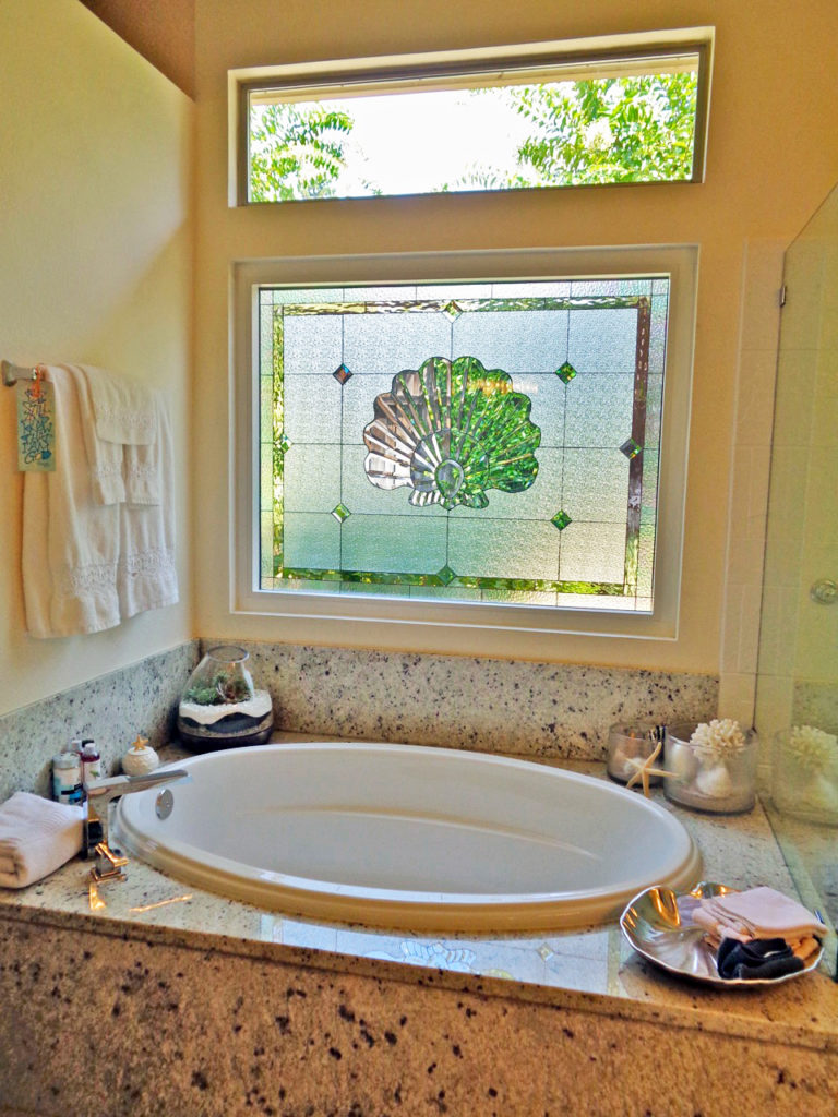Insulated Elegant Beveled Scallop Shell Installed Over A Bathtub