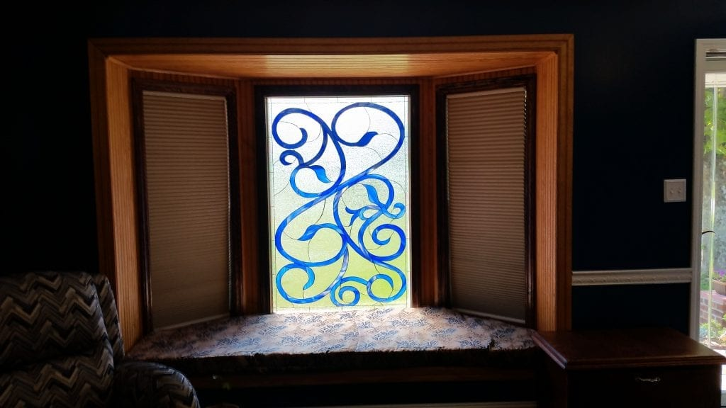 Blue Scrolls Decorative Stained Glass Windows