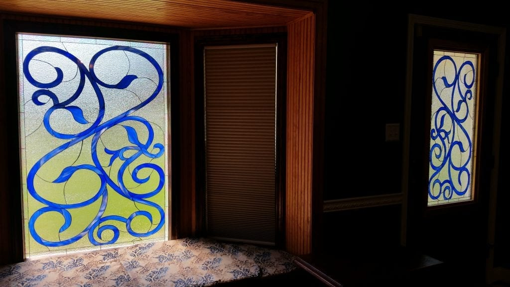 Exquisite Blue Scrolls Decorative Stained Glass Windows
