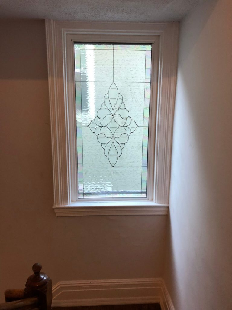 Lovely Stairway Beveled Glass Window With An Iridescent Border