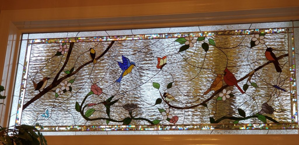 Birds & Blossoms Stained Glass Window