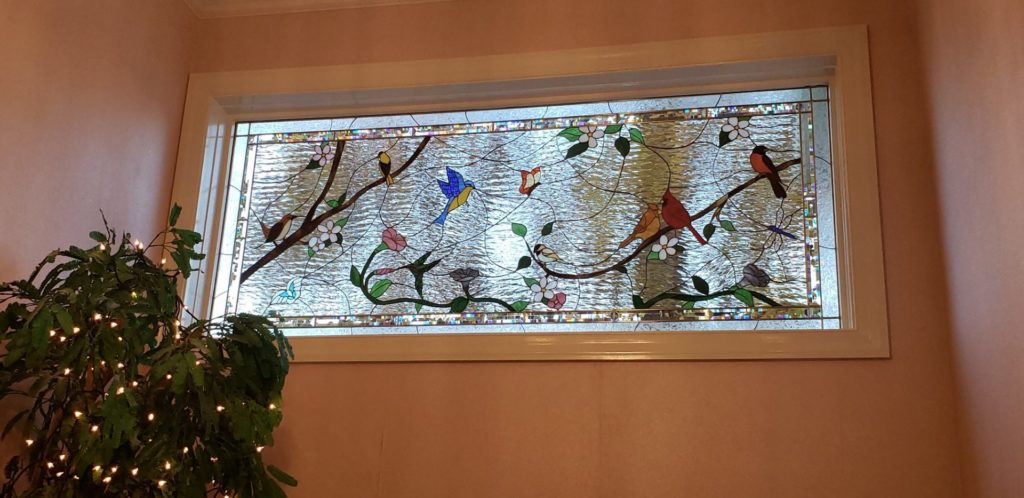 Birds & Blossoms Insulated Stained Glass Window