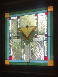 Color mission style stained glass window panel