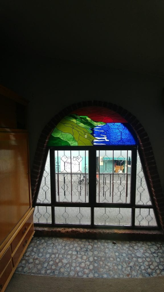 The Hawaiian coastline Stained Glass Panel installed in a home in Mexico