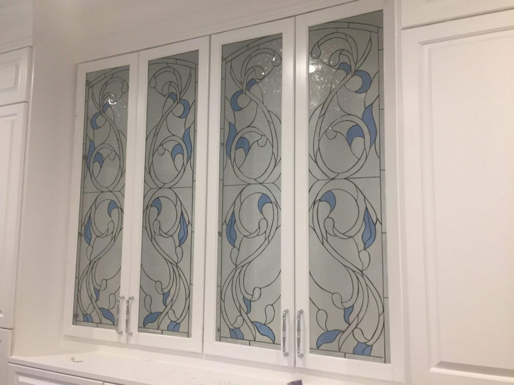 beveled floral stained glass cabinet inserts