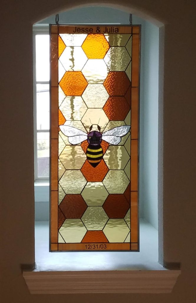 Bumble bee and honeycomb personalized stained glass window hanging by chain