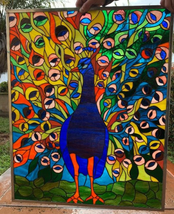 Colorful Peacock Tail! Stained Glass Window