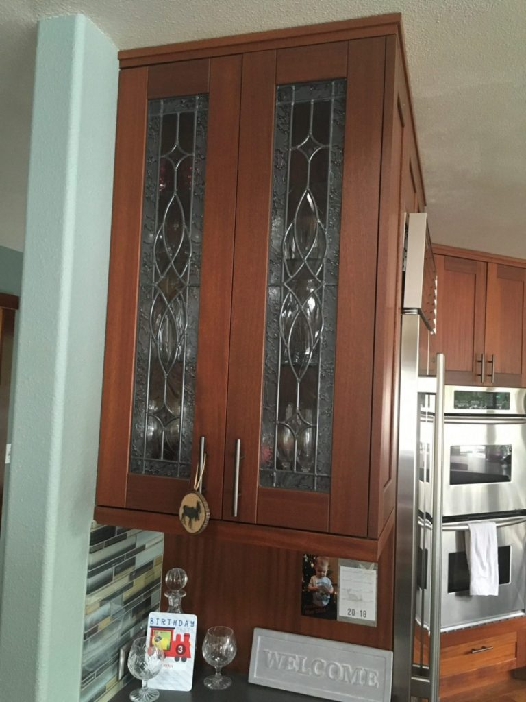 Two Lovely Leaded Beveled Stained Glass Cabinet Inserts