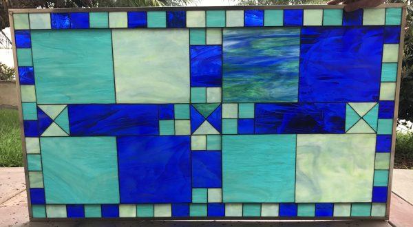 "The ""Ramona""Geometric  Leaded Stained Glass Window Panel"