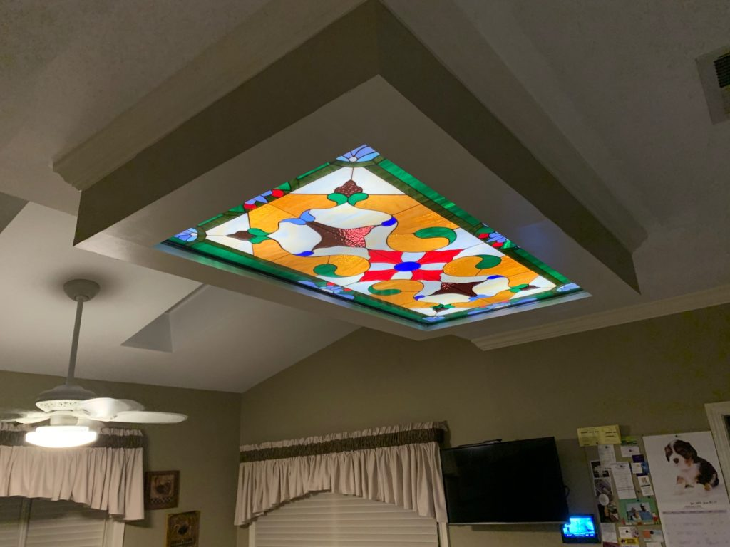 Illuminated Ceiling Stained Glass Panel For Ambiance & Beauty