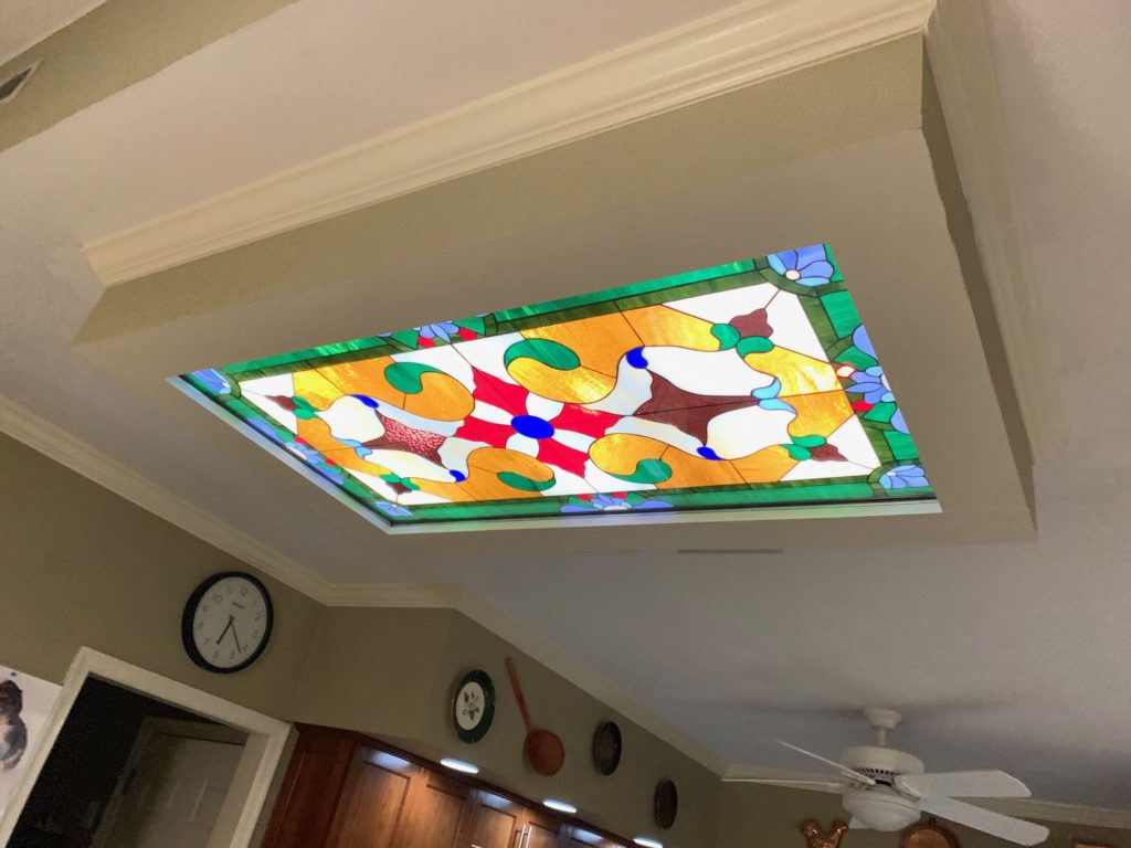 Internally Backlit Illuminated Ceiling Stained Glass Panel For Ambiance & Beauty