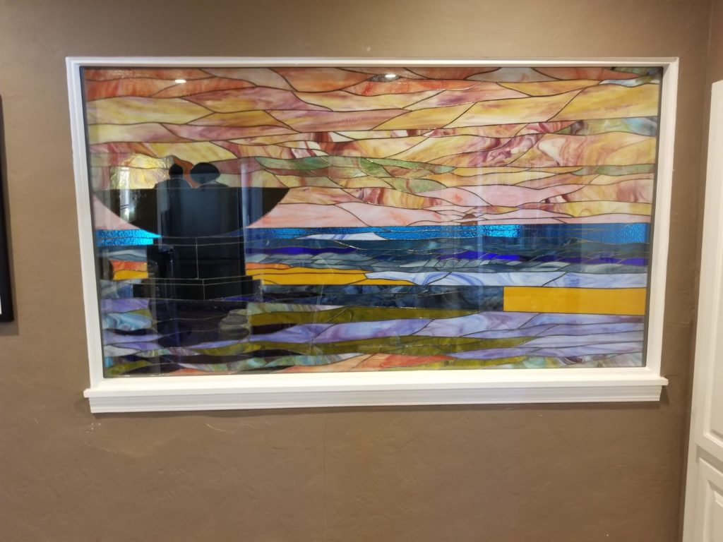 Sunset Stained Glass Window Installed In A Living Room