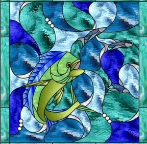 Beach and Ocean Stained Glass