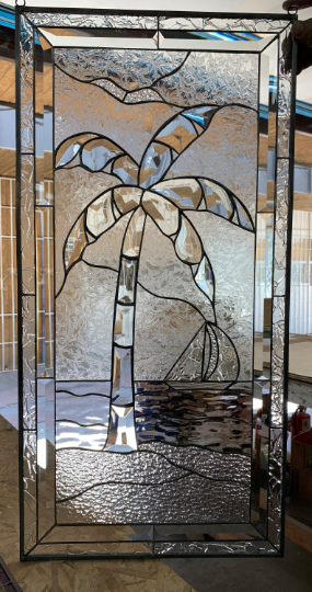 Beveled Palm Tree Beach & Sailboat Stained Glass Window Panel