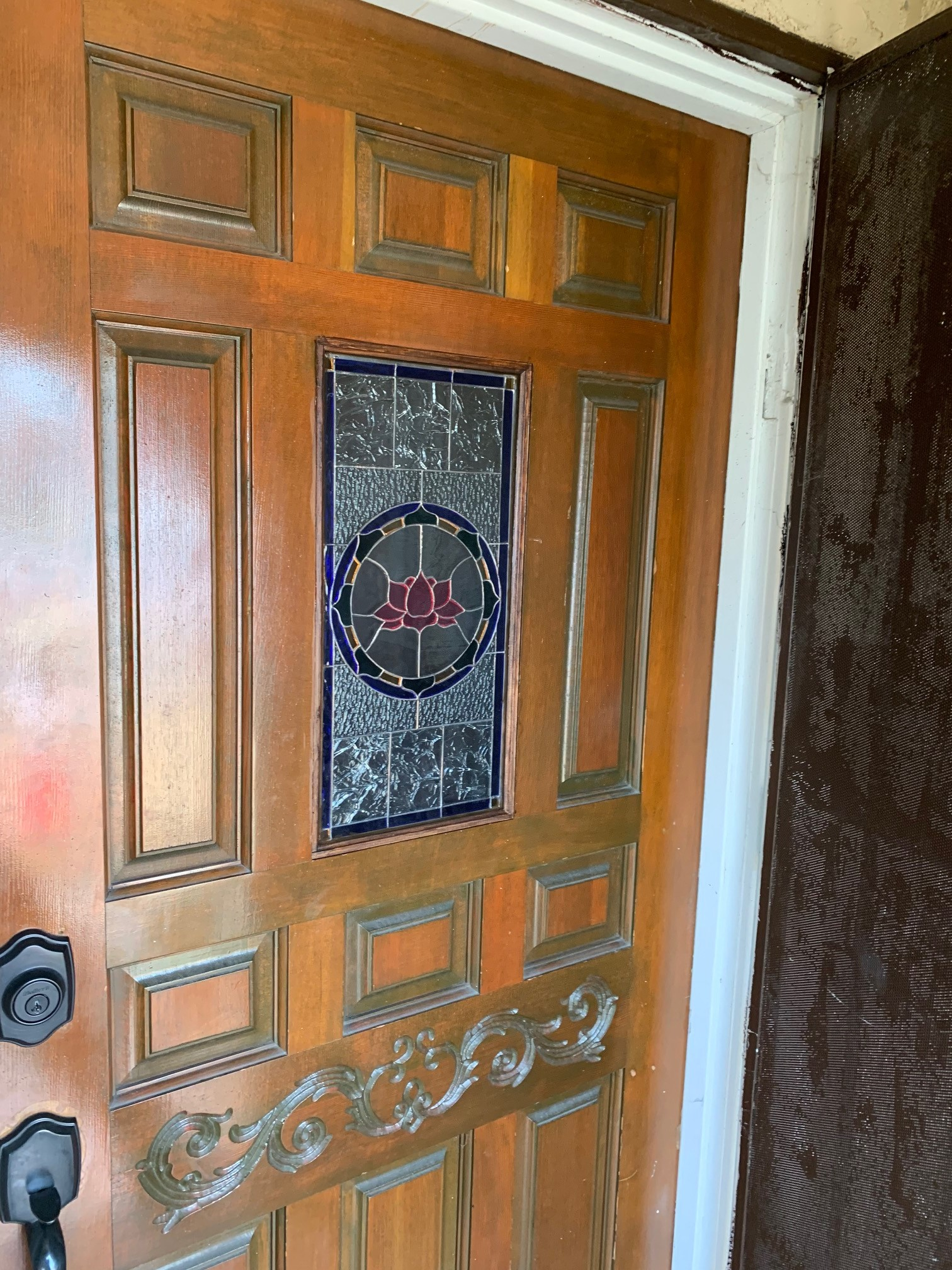 Insulated Tempered Stained Glass Lotus Unit Installed In Front door