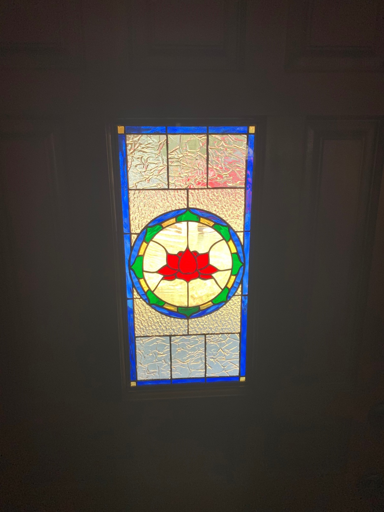 Insulated Tempered Stained Glass Lotus Unit Installed In Front door INSIDE