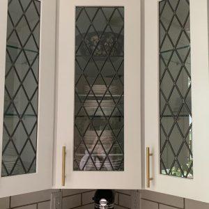Tudor Style Diamond Leaded Glass Kitchen Cabinet Inserts