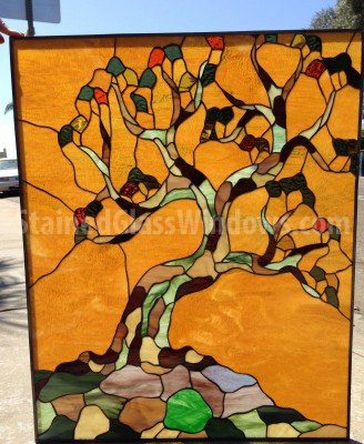 Life 2 Leaded Stained Gl Window Panel