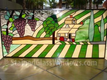 Tuscano Plantation House Leaded Stained Glass Window Panel