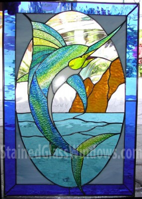 Thrashing Swordfish in Cabo Leaded Stained Glass Window Panel  (Also available insulated and pre-installed in vinyl frame)